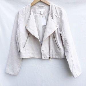 H&M beige linen blend cropped moto jacket.
